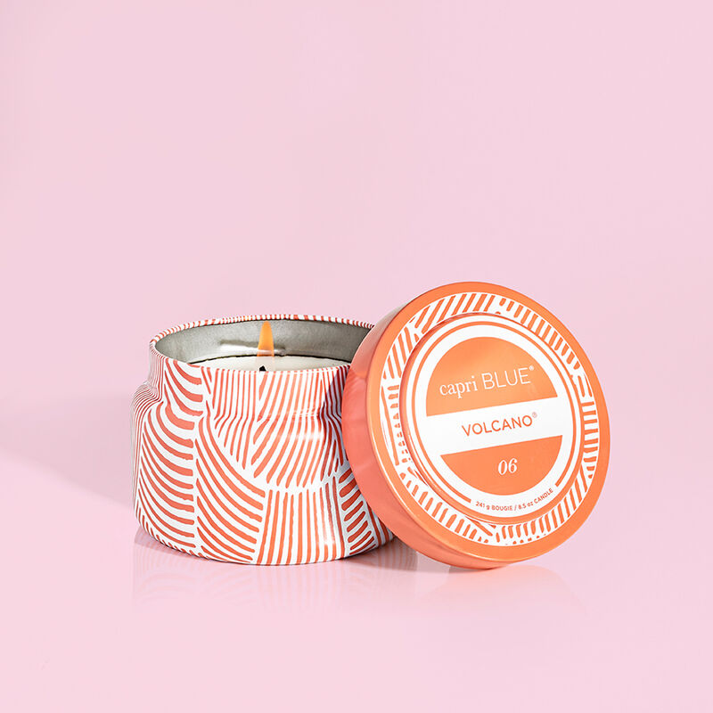 Capri Blue tangerine printed travel tin - volcano scented candle - lid off image number 1