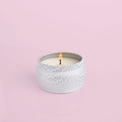Volcano White Mini Tin, 3 oz product when lit