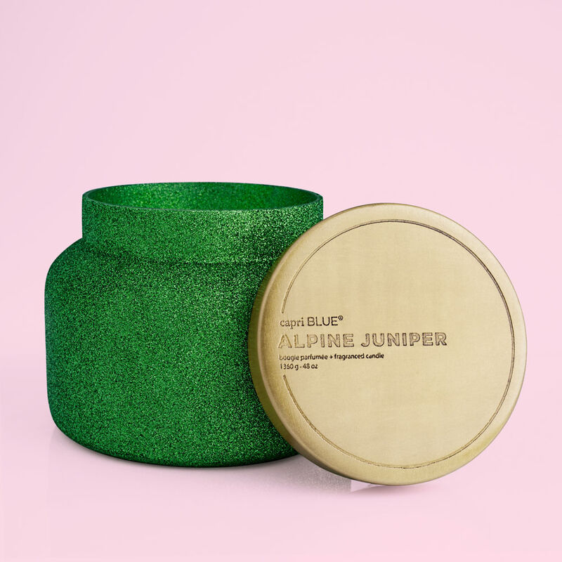 Alpine Juniper Glam Candle, 48oz with lid off image number 3