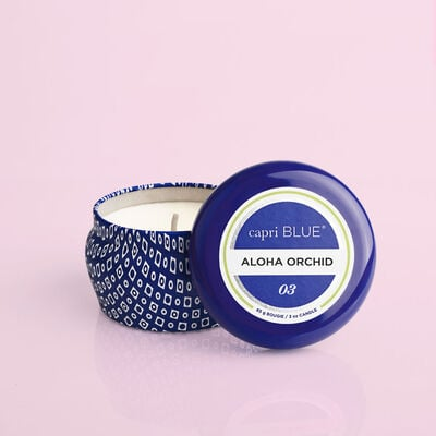 Aloha Orchid Blue Mini Candle, 3oz product with lid off