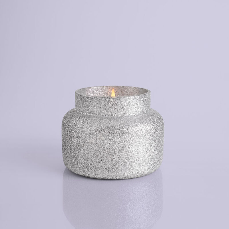 Frosted Fireside Glam Signature Candle Jar, 19 oz product when lit image number 2