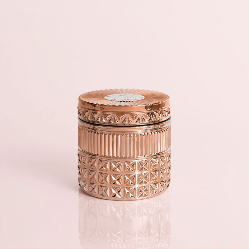 Pink Grapefruit & Prosecco Gilded Faceted Candle Jar, 11 oz Candle with Lid Alt Shot image number 1