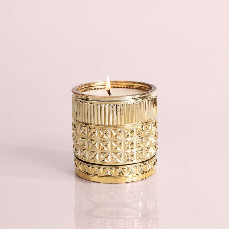 Exotic Blossom and Basil Gilded Faceted Candle Jar, 11 oz Candle Burning image number 3