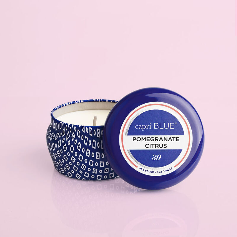 Pomegranate Citrus Blue Mini Candle, 3oz product with lid off image number 2