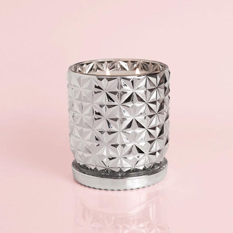 Citrus & Violet Haze Jumbo Gilded Faceted Jar, 30 oz Candle Burning image number 2