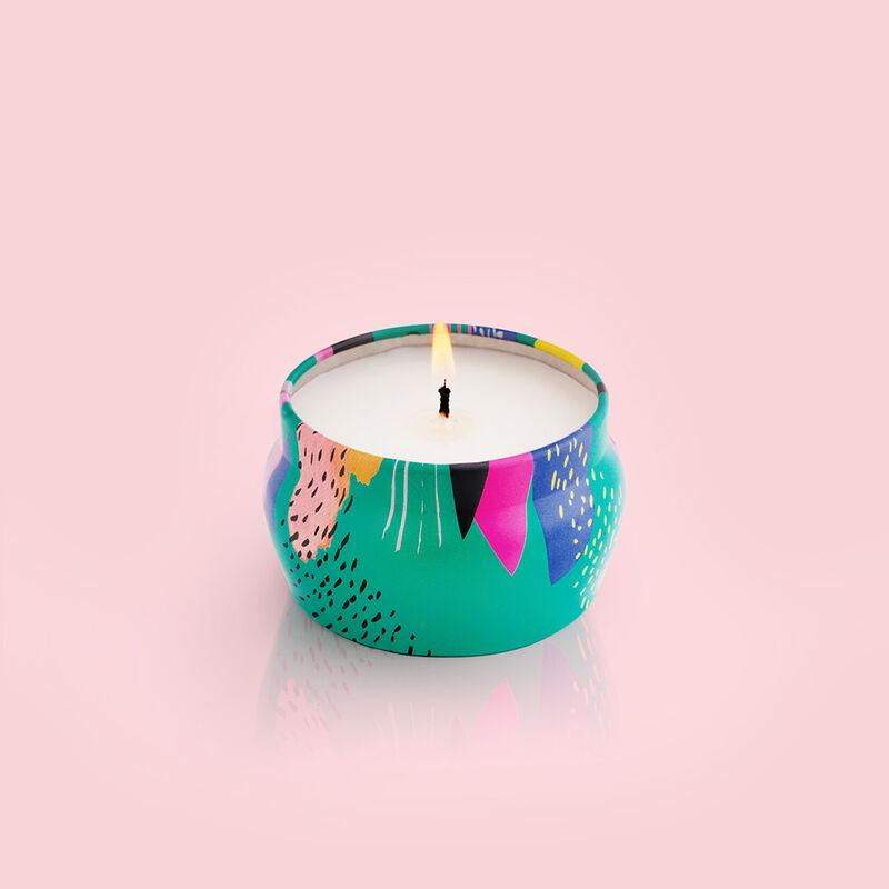 Coconut Santal Gallery Mini Candle Tin, 3 oz product when lit image number 2