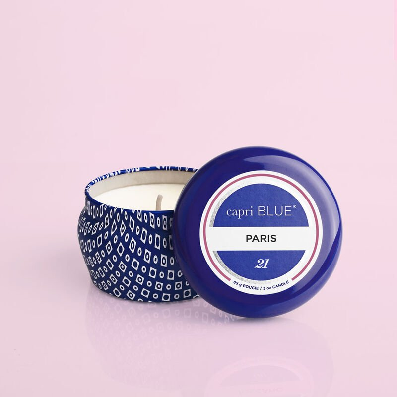 Paris Blue Mini Candle, 3oz product with lid off image number 2
