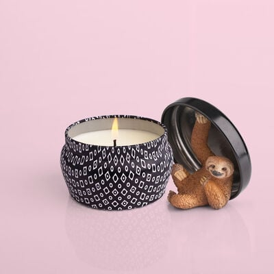 Volcano Black Mini Candle Tin, 3 oz with surprise sloth toy