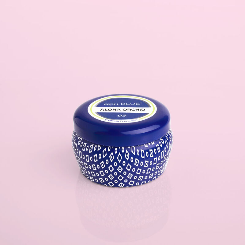 Aloha Orchid Blue Mini Candle Tin, 3oz product view image number 0