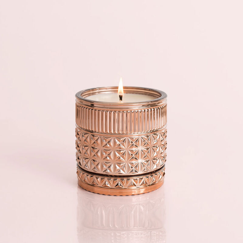 Pink Grapefruit & Prosecco Gilded Faceted Candle Jar, 11 oz Candle Burning image number 4