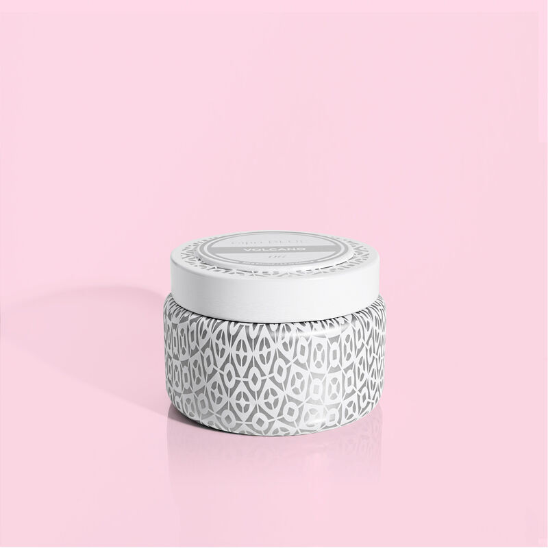 Volcano White Travel Tin Candle with Lid image number 0